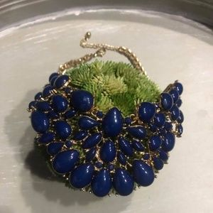 NWOT - Blue and Gold Choker Collar Necklace